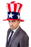 Angry man with american hat Stock Images