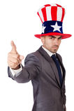 Angry man with american hat Royalty Free Stock Photos