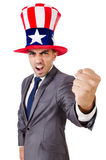 Angry man with american hat Stock Photos