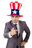 Angry man with american hat Royalty Free Stock Photography