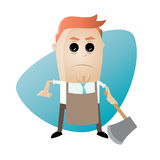 Angry man with apron and hatchet Royalty Free Stock Photography