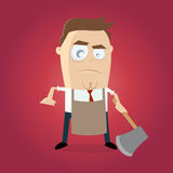Angry man with apron and hatchet Royalty Free Stock Images