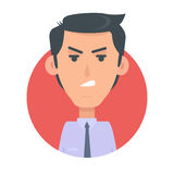 Angry Man Avatar Web Button. Wicked Male Emotion. Avatar. Unkind emotion face, feelings, emotional intelligence expression. Evil businessman character in flat Stock Photos