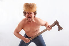 Angry man with Ax Stock Photo