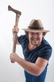 Angry man with Ax Royalty Free Stock Image