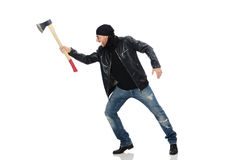 The angry man with axe isolated on white. Angry man with axe isolated on white Royalty Free Stock Images