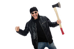 The angry man with axe isolated on white. Angry man with axe isolated on white Stock Image