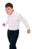 Angry man with bared teeth. Isolated on white background Royalty Free Stock Photos