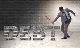 The angry man with baseball bat debt burden Royalty Free Stock Photo