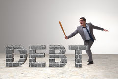 The angry man with baseball bat debt burden Royalty Free Stock Image