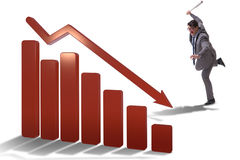 The angry man with baseball bat hitting downward chart Royalty Free Stock Images