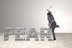 The angry man with baseball bat hitting fear word Stock Images