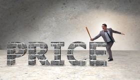The angry man with baseball bat hitting price word Stock Images