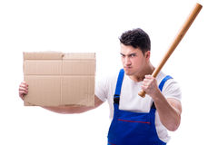 Angry man with baseball bat holding a message board on white bac Royalty Free Stock Image