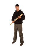 Angry man with baseball bat. Isolated on white Royalty Free Stock Photos