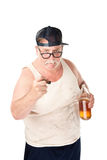Angry man with beer. Obese man in tee shirt on white background Royalty Free Stock Photo
