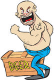 Angry man and beer. Vector illustration of angry man and a box of beer Royalty Free Stock Photo