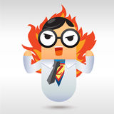 Angry Man. Businessman , superman , man of fire , employee Royalty Free Stock Photos
