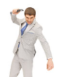 Angry man with cell phone. Picture of angry man with cell phone Royalty Free Stock Photo