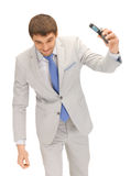 Angry man with cell phone. Picture of angry man with cell phone Royalty Free Stock Photos