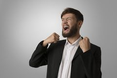 Angry man with clenched fists Royalty Free Stock Photo