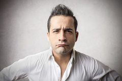 Angry man. With a disappointed expression Stock Image