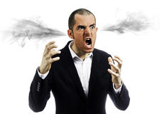 Angry man exploded. Furious man with exploding head. Stress at work. Mad boss in furious Stock Photo