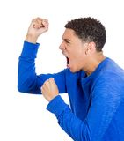 Angry man with fists in air Stock Photography