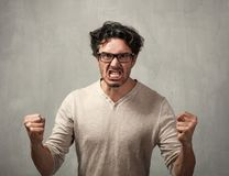 Angry man. Angry fury man portrait. People face expressions Stock Photography