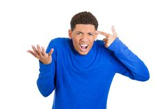 Angry man, gesturing: are you crazy? Stock Image