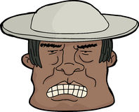 Angry Man in Hat. Cartoon of furious Latino man with clenched teeth Stock Photography