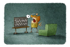 Angry man hitting TV at home. Illustration of angry man hitting TV with no signal and noise on screen stock illustration