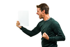 Angry man holding document Royalty Free Stock Images