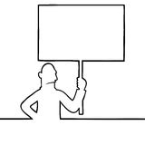 Angry man holding a protest sign. Black line art illustration of angry man holding a protest sign Stock Image