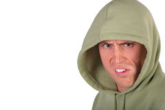 Angry man in hood. On white Stock Photos