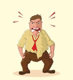 Angry man illustration. Angry man foaming at the mouth idiom, vector Stock Photos