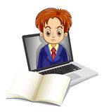 An angry man inside the laptop with a notebook in front Stock Photography