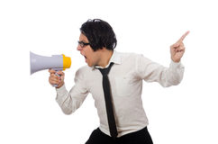 The angry man with loudspeaker isolated on white Stock Image