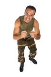 Angry man with military uniform Stock Photography