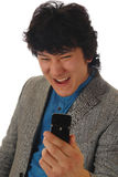 Angry man with mobile. Phone Stock Photography
