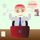 Angry man office work stress fuming anxious nervous. Angry person fuming while working under stress. Expressions of anger, anxiety, nervousness Stock Image