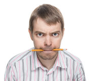 Angry man with pencil. Royalty Free Stock Images