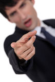 Angry man pointing. At the camera Royalty Free Stock Photography