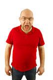 Angry man portrait isolated. Angry man with glasses isolated background stock images