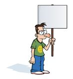 Angry man with protest sign. Angry man holding an empty protest sign Royalty Free Stock Photos