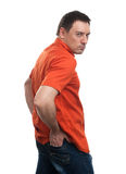 Angry Man in red Shirt with Grumpy Expression Stock Image