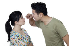 Angry man scolding his wife Stock Images