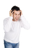 Angry man screaming isolated white Royalty Free Stock Photography