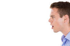 Angry man screaming, side view Royalty Free Stock Photography