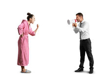 Angry man and screaming woman Stock Images